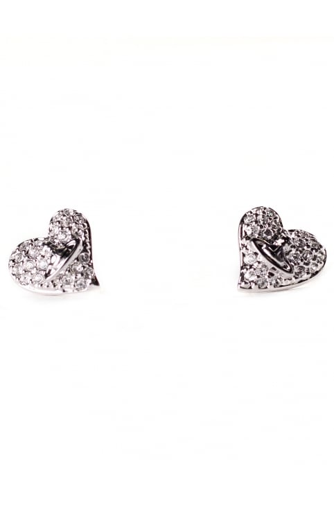 Women's Tiny Diamante Heart Studs