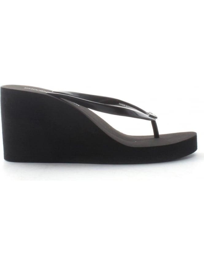 Armani Emporio Heel Flip Flop Wedge Women's Black 5jLR4A