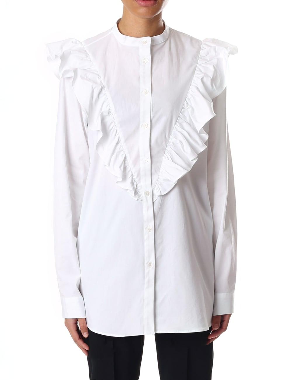 8590be248524a9 Paul Smith White Frill Detail Women's Cotton Shirt