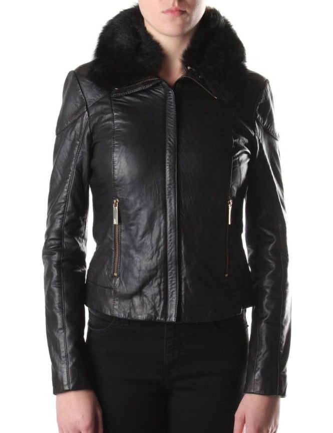 ea92fb82d Ted Baker Women's Cleva Shearling Collar Leather Jacket