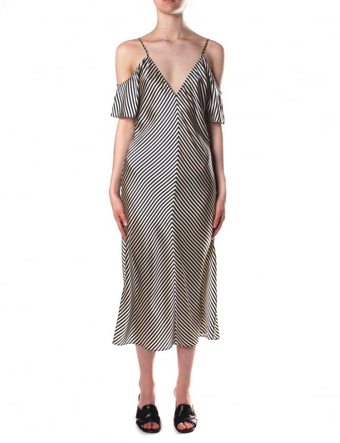 Alexander Wang Women S Cold Shoulder Striped Silk Midi Dress