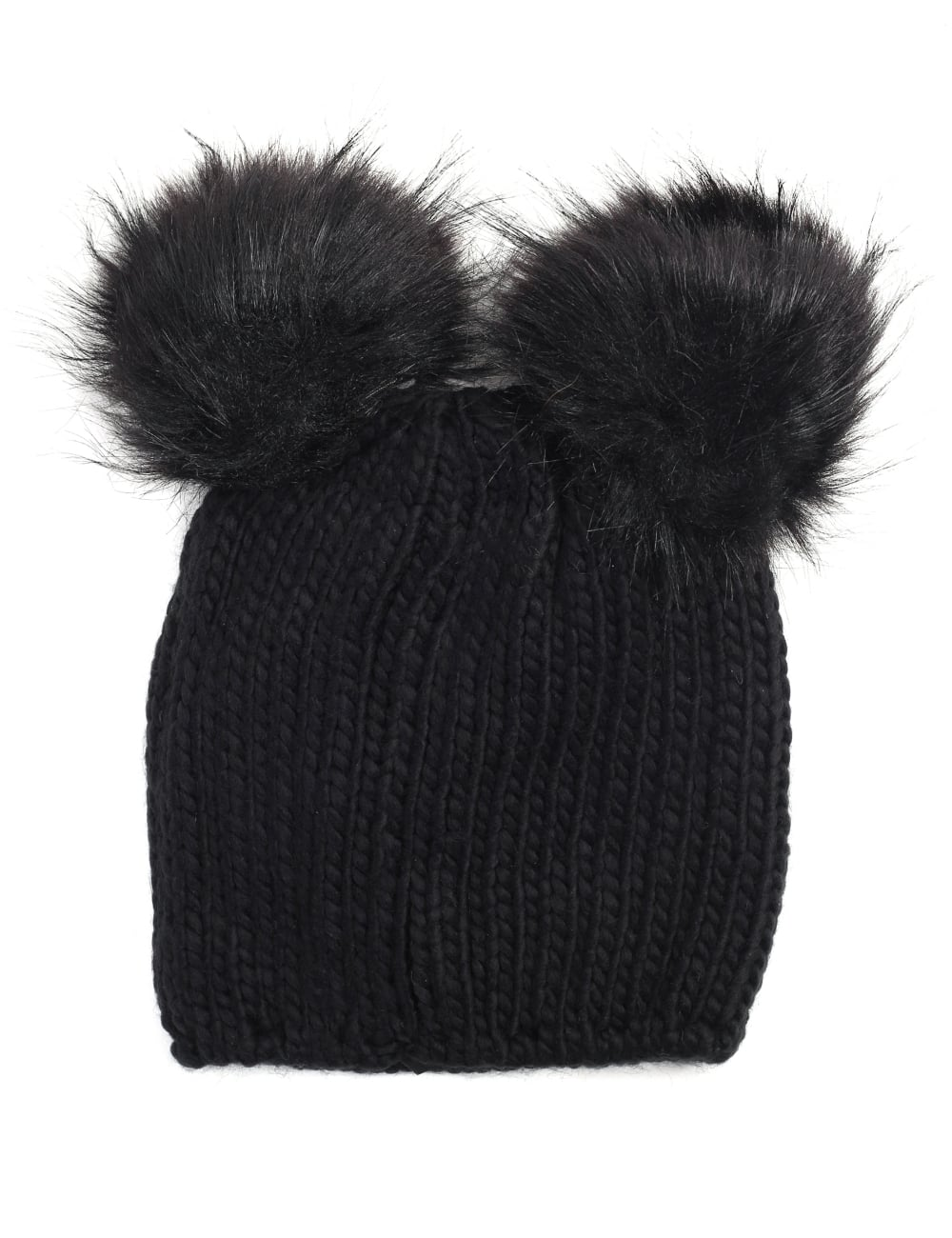 248666b61 RINO & PELLE Women's Double Faux Fur Pom Pom Hat