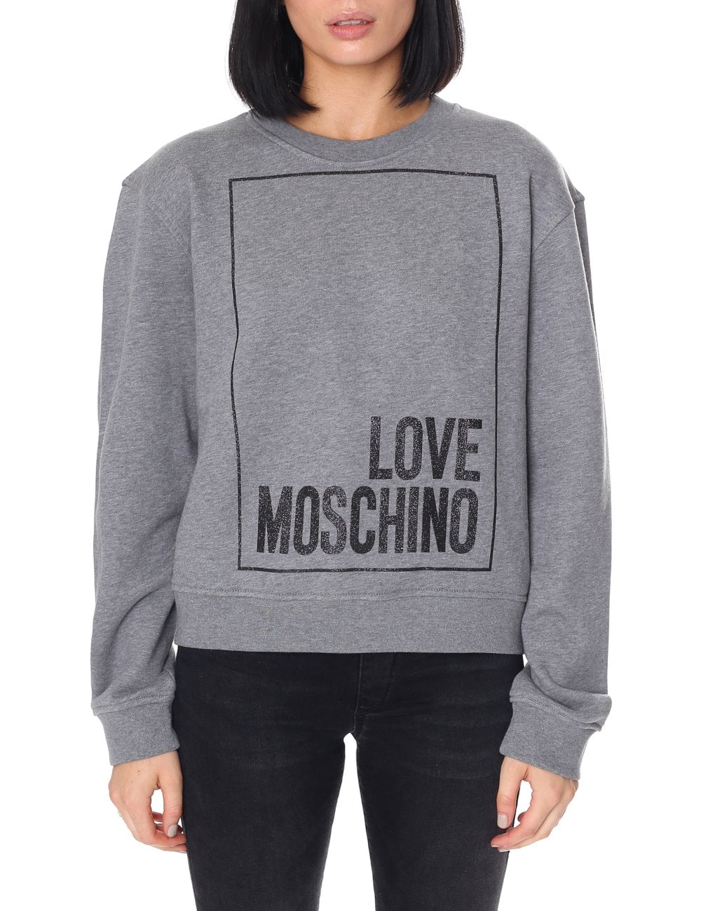 9d01f5c3654a1 Love Moschino Women's Glitter Box Logo Sweat Top