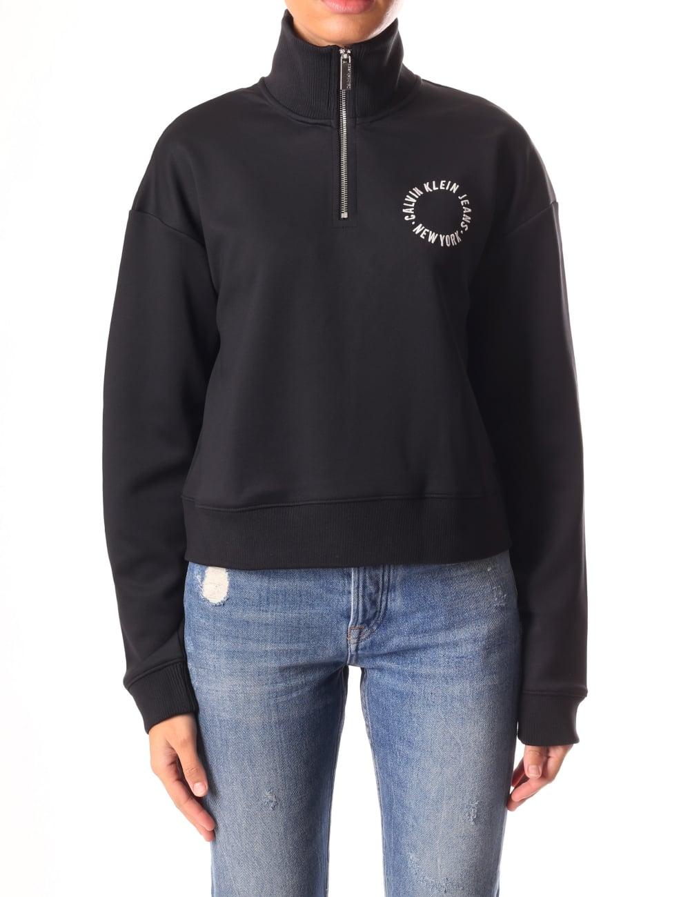 56b6d5c0dbd Calvin Klein Women's Harika Zip Long Sleeve Crop Neoprene Sweat