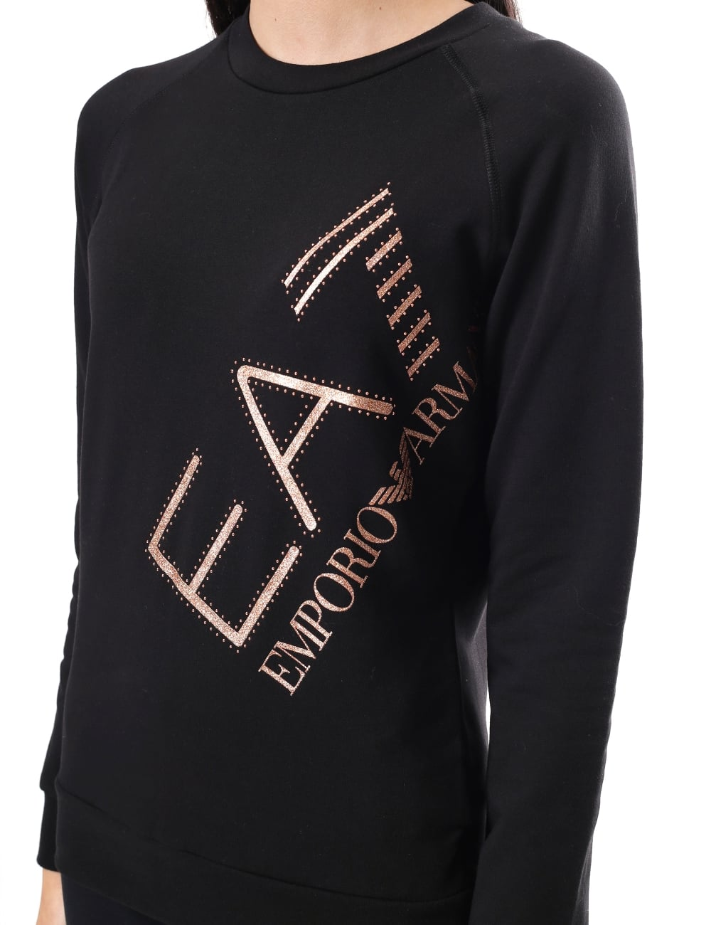 a0208e208314 EA7 Women's Logo Print Crew Neck Sweat Top