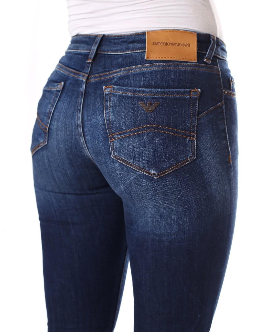 b635bcb6 Armani Jeans Women's Mid Wash Push Up Skinny Jean