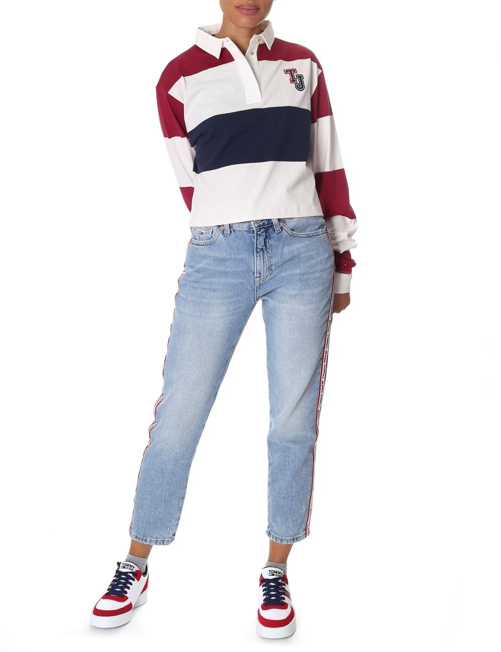 Tommy Hilfiger Women S Striped Crop Long Sleeve Polo Top