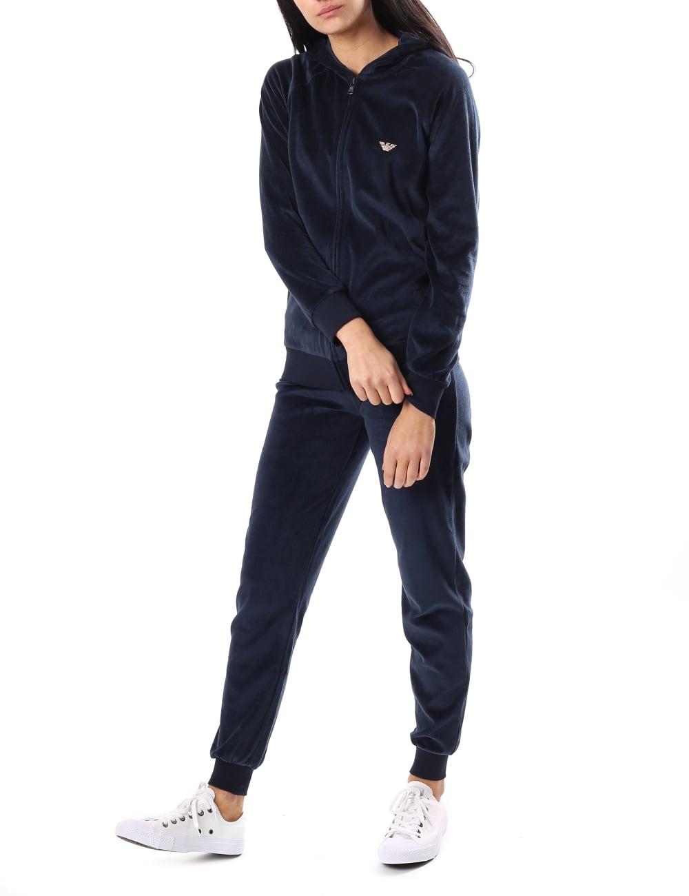 79c27f1217 Emporio Armani Women's Velour Zip Through Hooded Tracksuit