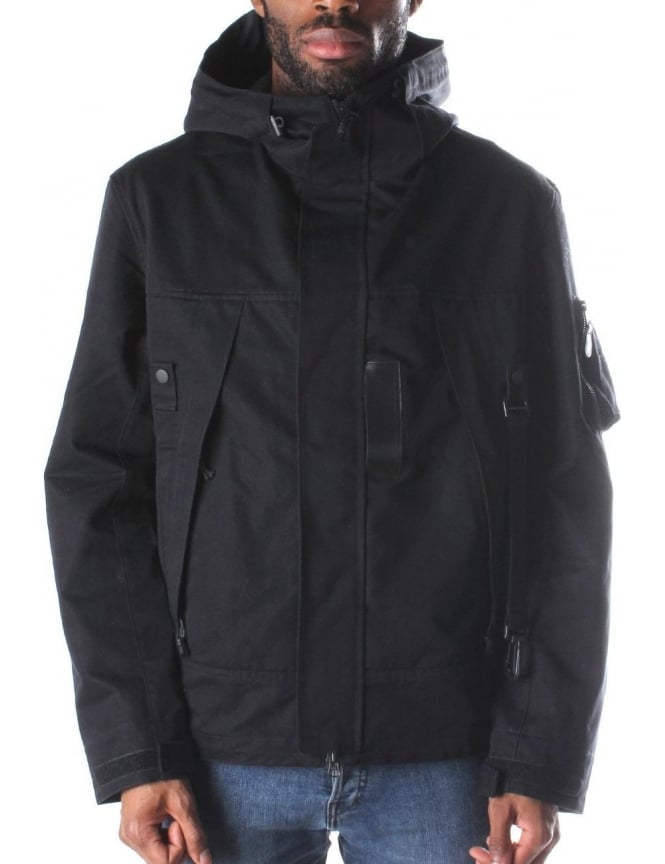 Y-3 M Jet Parka Zip Through Hooded Parka Black